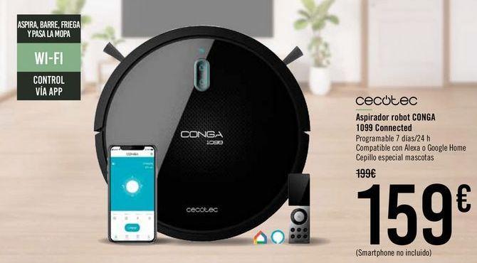 Oferta de CECOTEC Aspirador robot CONGA 1099 Connected por 159€