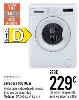 Oferta de ICEOOL Lavadora ICD107W  por 229€