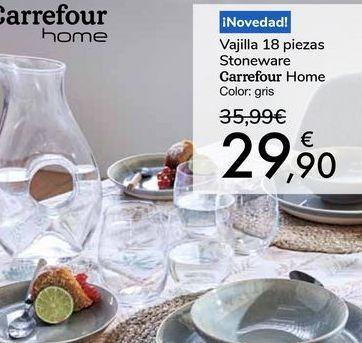 Oferta de Vajilla 18 piezas Stoneware Carrefour Home por 29,9€