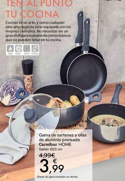Oferta de Gama de sartenes y ollas de aluminio prensado Carrefour HOME por 3,99€