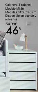 Oferta de Cajonera 4 cajones Modelo Milán por 46€