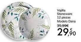 Oferta de Vajilla Stoneware 12 pìezas Modelo Dana por 29,9€