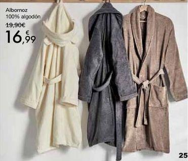 Oferta de Albornoz 100% algodón por 16,99€