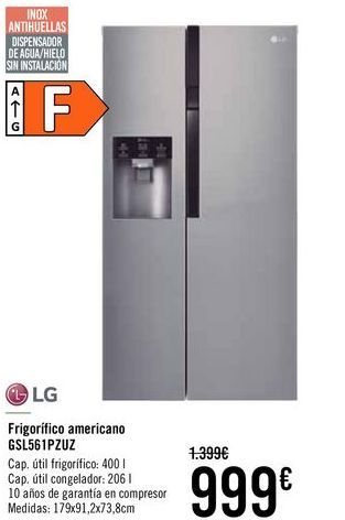 Oferta de LG Frigorifico americana GSL561PZUZ  por 999€