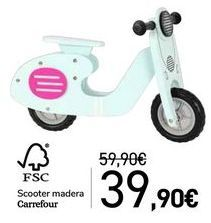 Oferta de Scooter madera Carrefour por 39,9€