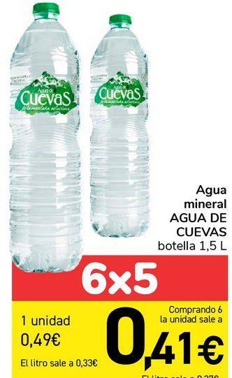 Oferta de Agua mineral Agua de Cuevas, botella 1.5 l por 0,49€
