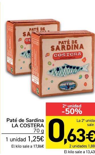 Oferta de Paté de sardina La Costera 70 g por 1,25€