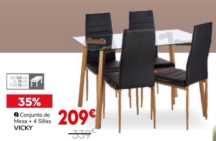 Oferta de Conjunto mesa y sillas por 209€