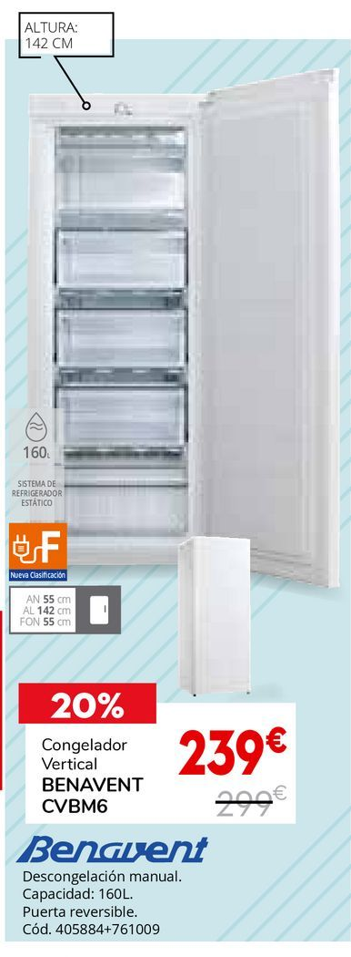 Oferta de Congelador vertical Benavent por 239€