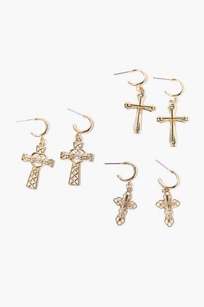 Oferta de Ornate Cross Pendant Hoop Earring Set por 2,78€