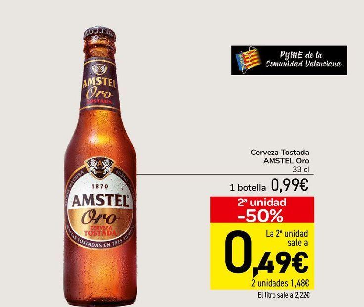 Oferta de Cerveza tostada Amstel Oro 33 cl por 0,99€