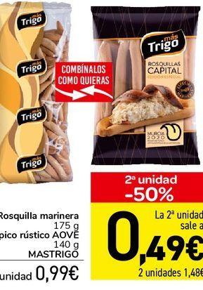 Oferta de Rosquilla marinera 175 g, pico rústico AOVE 140 g MASTRIGO por 0,99€
