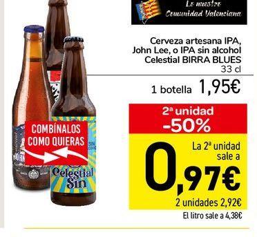 Oferta de Cerveza artesana IPA, John Lee, o Ipa sin alcohol Celestial Birra Blues 33 cl por 1,95€