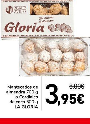 Oferta de Mantecados de almendra 700 g o Cordiales de coco 500 g LA GLORIA  por 3,95€