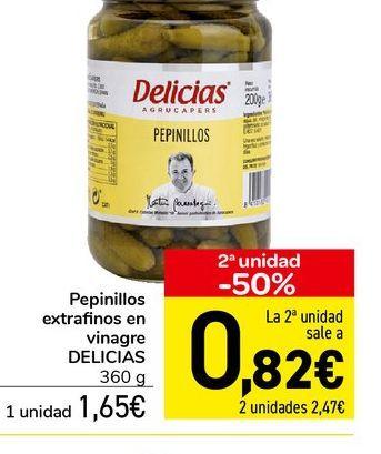 Oferta de Pepinillos extrafinos en vinagre DELICIAS 360 g  por 1,65€