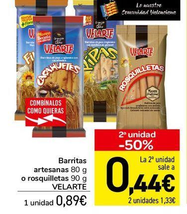 Oferta de Barritas artesanas 80 g o rosquilletas 90 g Velarte por 0,89€