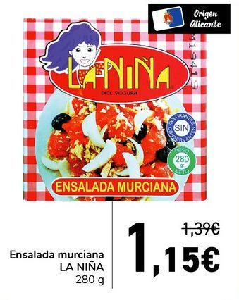 Oferta de Ensalada murciana LA NIÑA 280 g por 1,15€
