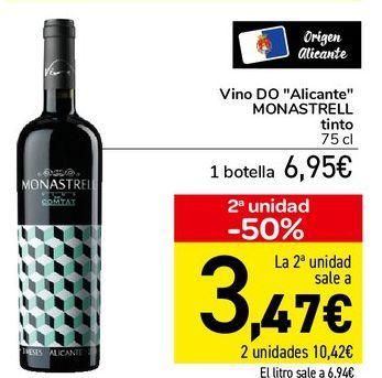 Oferta de Vino D.O Alicante MONASTRELL tinto 45 cl por 6,95€