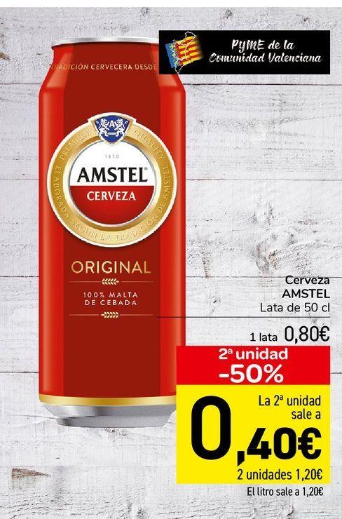 Oferta de Cerveza Amstel lata de 50 cl por 0,8€