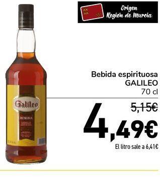 Oferta de Bebida espirituosa  Galileo 70 cl por 4,49€