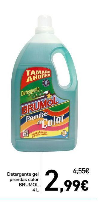 Oferta de Detergente gel prendas color BRUMOL 4 l por 2,99€