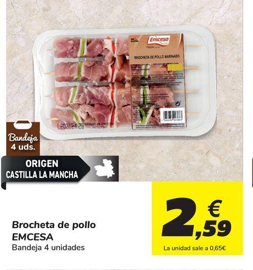 Oferta de Brochetas de pollo Emcesa, bandeja 4 uds por 2,59€