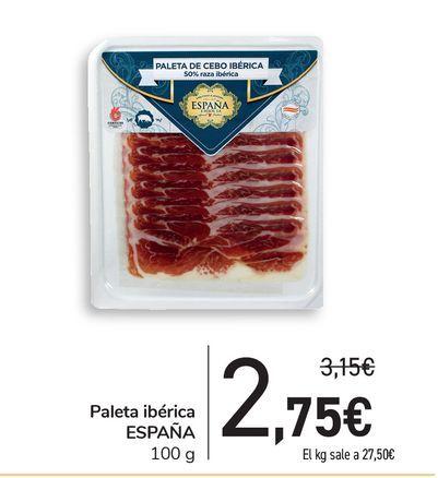 Oferta de Paleta ibérica España, 100 g por 2,75€