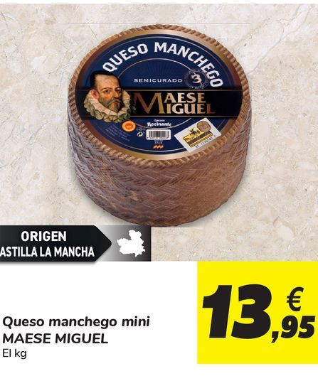 Oferta de Queso manchego mini MAESE MIGUEL por 13,95€