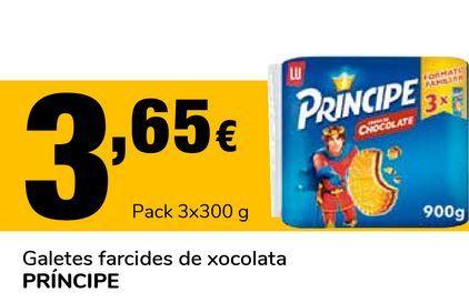 Oferta de Galletas rellenas de chocolate PRÍNCIPE por 3,65€