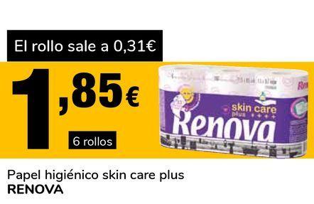 Oferta de Papel higiénico skin care plus RENOVA por 1,85€