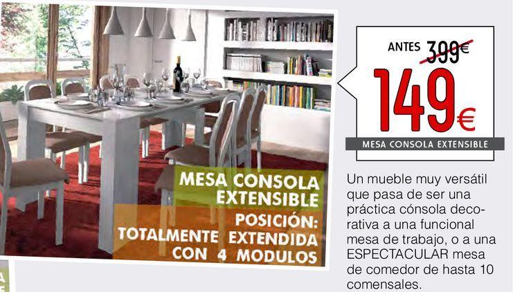 Oferta de Mesa consola extensible 4 en 1 Blanco  por 149€