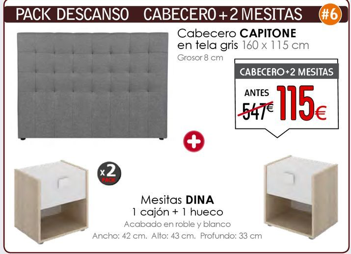 Oferta de PACKdescanso cabecero + 2 Mesitas  por 115€