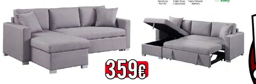 Oferta de Soda chaise longue con cama gris MOSCU  por 359€