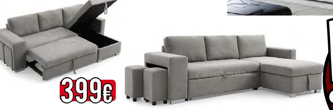 Oferta de Soda chaise longue con cama gris MOSCU  por 399€