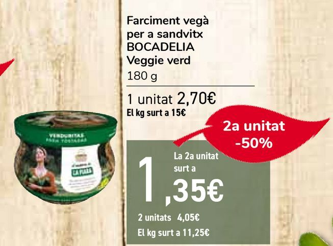 Oferta de Relleno vegano para sándwich BOCADELIA Veggie verde por 2,7€
