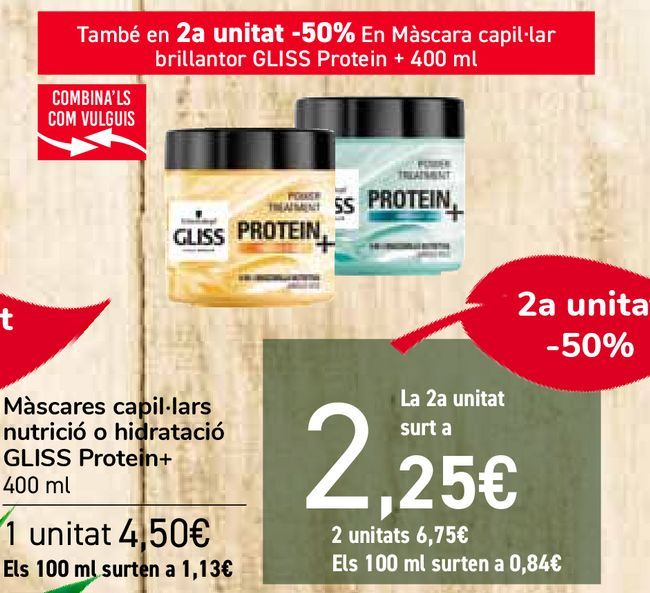 Oferta de Mascarillas capilares nutrición o hidratación GLISS Protein + por 4,5€
