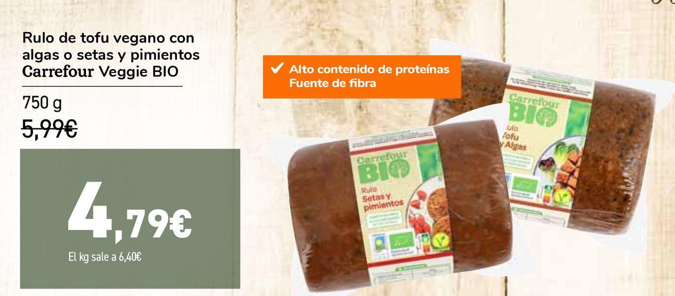 Oferta de Rulo de tofu vegano con algas o setas y pimientos Carrefour Veggie BIO por 4,79€