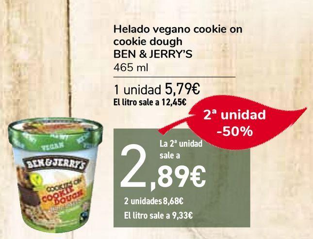 Oferta de Helado vegano cookie on cookie dough BEN & JERRY'S  por 5,79€