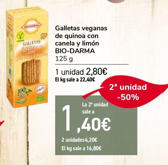 Oferta de Galletas veganas de quinoa con canela y limón BIO-DARMA por 2,8€