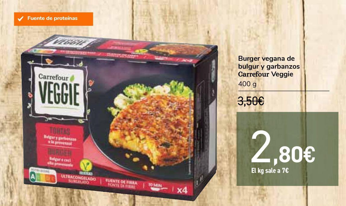 Oferta de Burger vegana de bulgur y garbanzos Carrefour Veggie por 2,8€