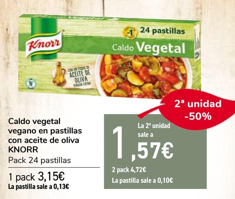 Oferta de Caldo vegetal vegano en pastillas con aceite de oliva KNORR por 3,15€