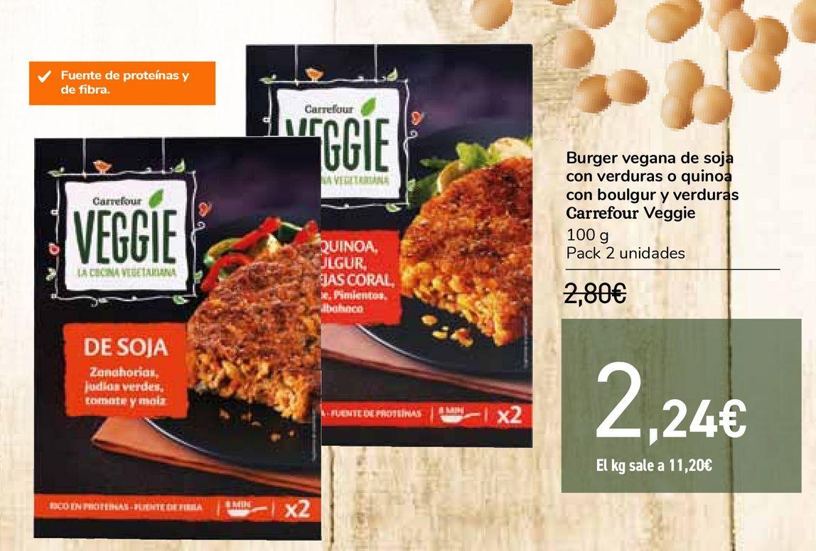 Oferta de Burger vegana de soja con verduras o quinoa con boulgur y verduras Carrefour Veggie por 2,24€