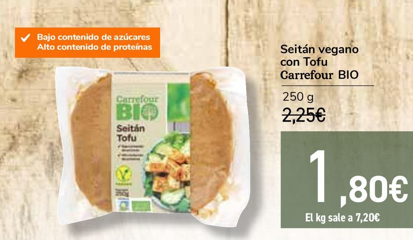 Oferta de Seitán vegano con Tofu Carrefour BIO por 1,8€