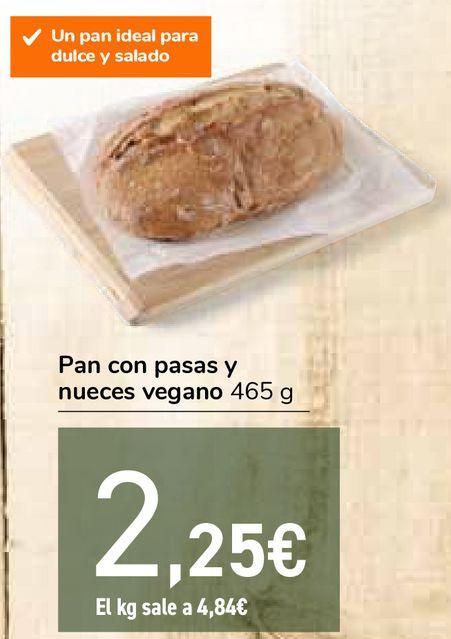 Oferta de Pan con pasas y nueces vegano por 2,25€