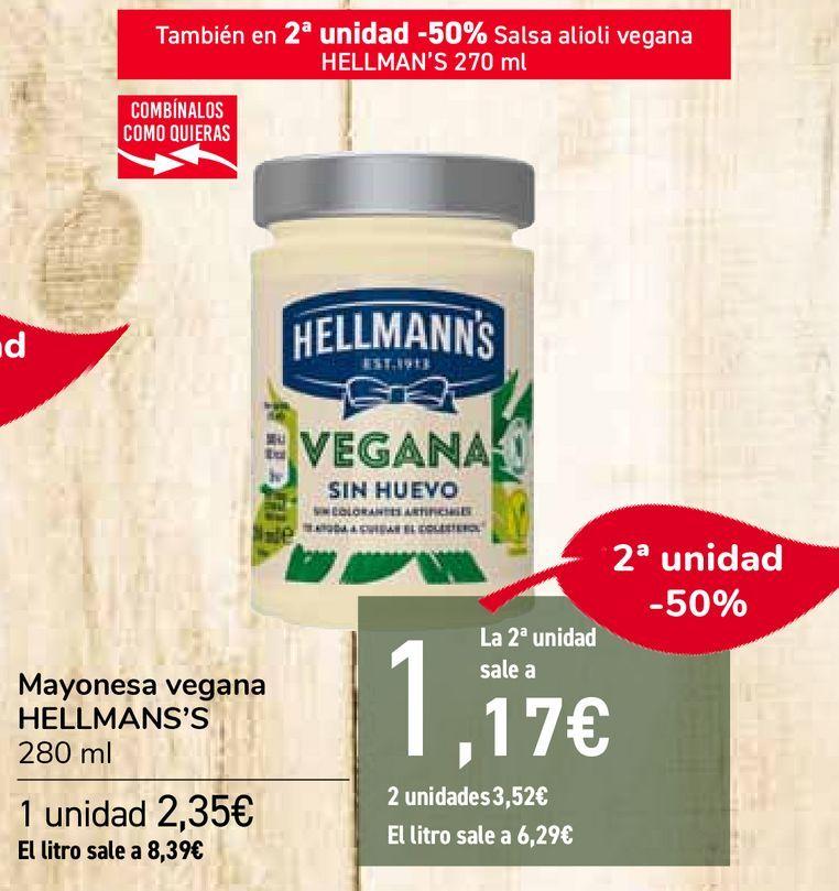 Oferta de Mayonesa vegana HELLMANS'S por 2,35€