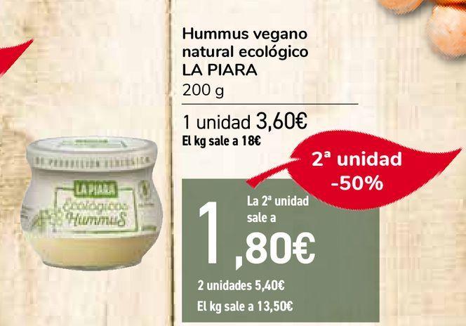 Oferta de Hummus vegano natural ecológico LA PIARA por 3,6€