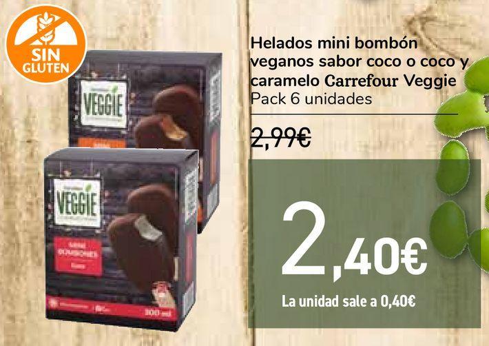 Oferta de Helados mini bombón veganos sabor coco o coco y caramelo Carrefour Veggie por 2,4€