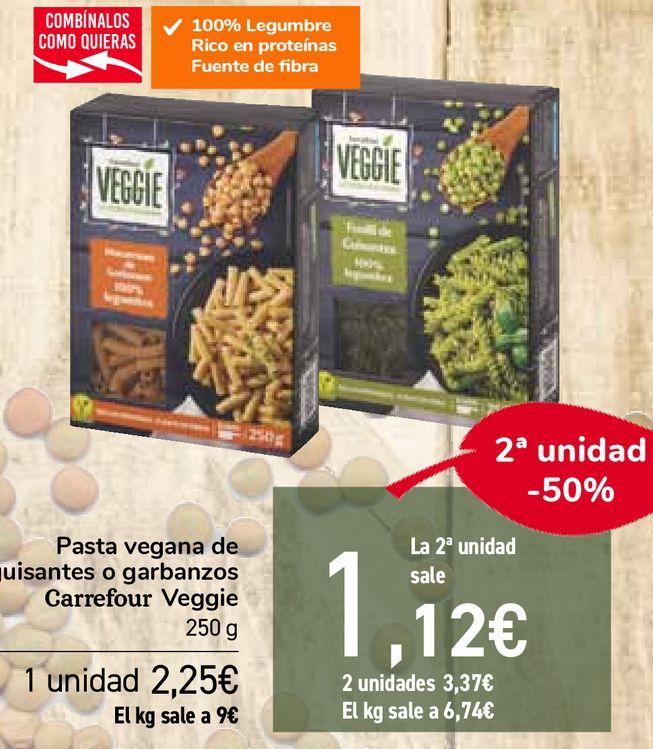 Oferta de Pasta vegana de guisantes o garbanzos Carrefour Veggie por 2,25€