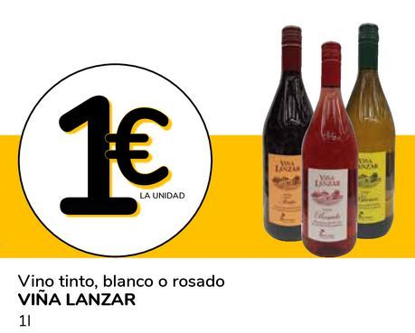 Oferta de Vino tinto. blanco o rosado VIÑA LANZAR por 1€