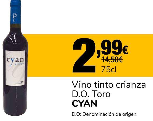 Oferta de Vino tinto crianza D.O. Toro CYAN por 2,99€